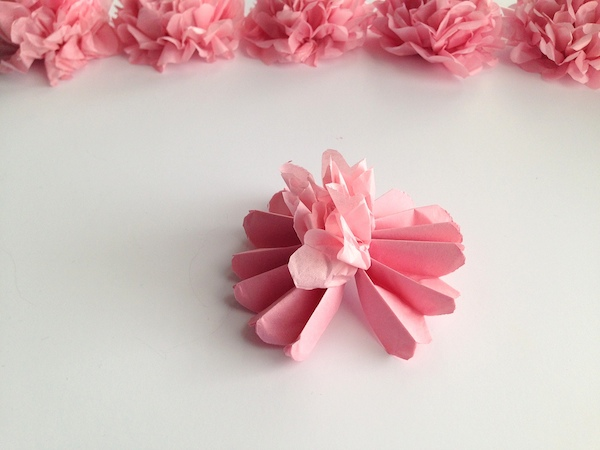 Diy hanging tissue paper flowers tutorial mid south bride diy tissue paper flower tutorial step 7 mightylinksfo