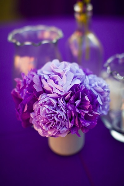 tissue paper wedding flowers table