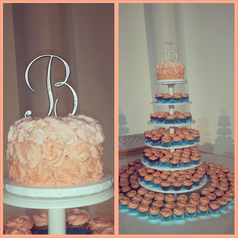 memphis wedding vendor: the ivory cupcake: coral and teal cupcake wedding cake