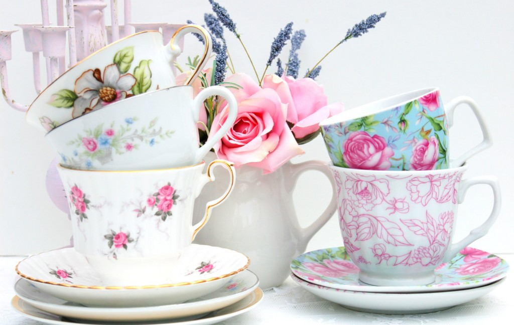 mismatched china tea cups and saucers