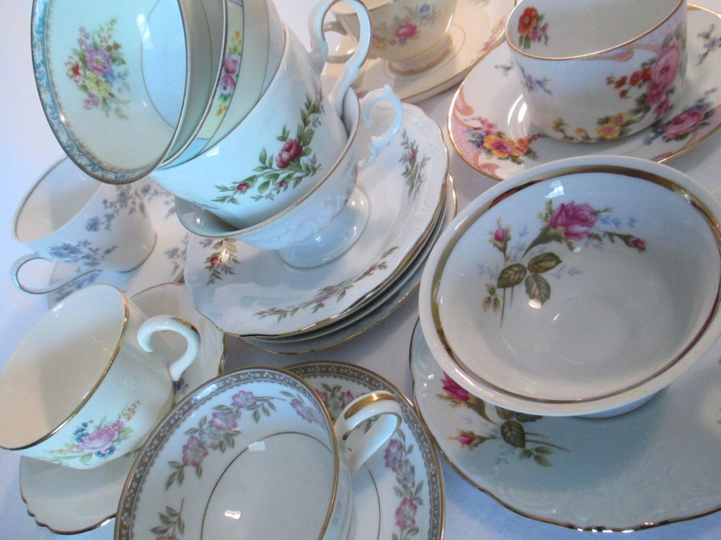 vintage mismatched cups and saucers