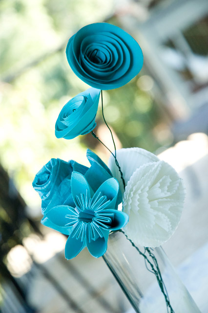 Bouquet-vertical paper flower wedding centerpiece