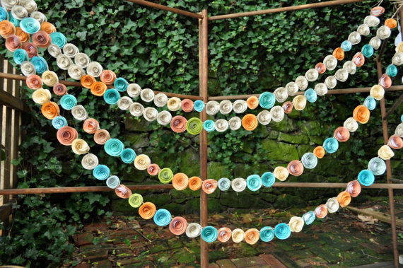 Inspired wedding garland paper flowers mid south bride colorful wedding paper garland mightylinksfo