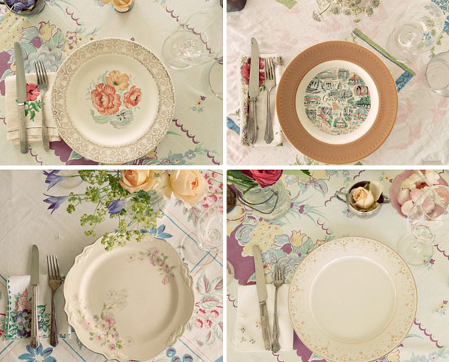 mismatched wedding table plates