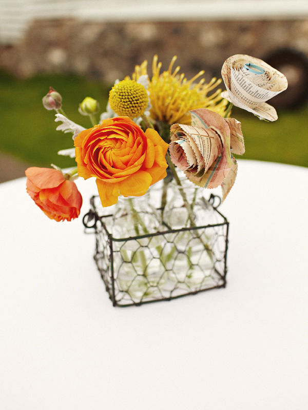 real and paper wedding flowers centerpiece - Combination of real and paper flowers as centerpieces Photo by Sarah Rhoads Photographers