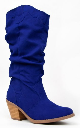 blue suede wedding shoes - Western Cowboy Inspired Slouchy Mid Calf Knee High Stacked Heel Boot