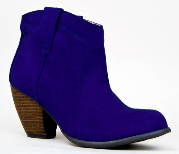 blue suede wedding shoes - Western Cowboy Inspired Stack Heel Basic Akle Boot Bootie