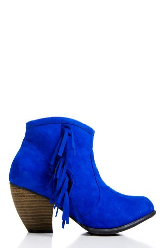 blue suede wedidng shoes - Fringed Faux Suede Heeled Booties in Cobalt Blue