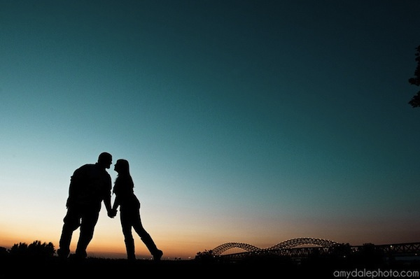 memphis photo engagement ideas - river night
