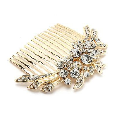 wedding hair comb Duo Flowers Hair Comb Pin Gold