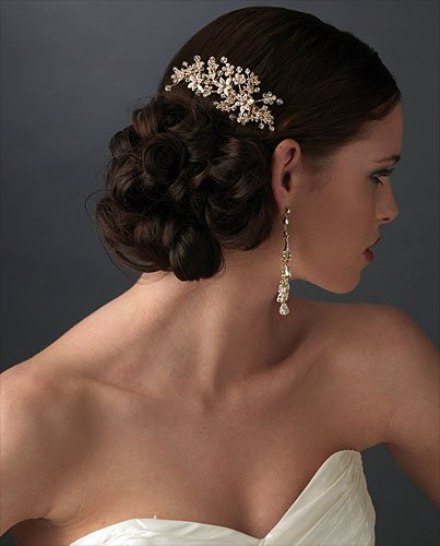 wedding hair comb Gold with Champagne Crystals
