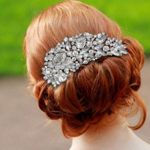 wedding hair comb Silver-Tone Rose Simulated Pearl Hair Comb