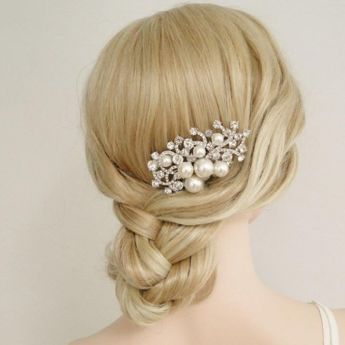 wedding hair comb pearl and crystal hair comb