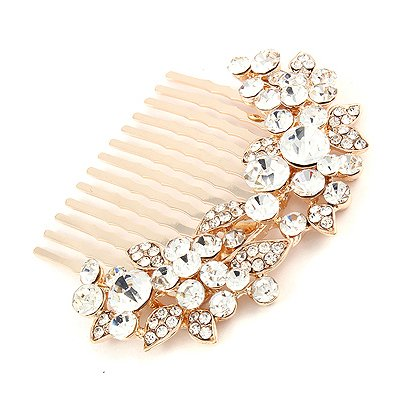 wedding hair combJewelry Crystal Rhinestone Floral Hair Comb Pin Gold