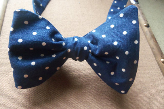 classic swag navy blue and polka dot bow tie
