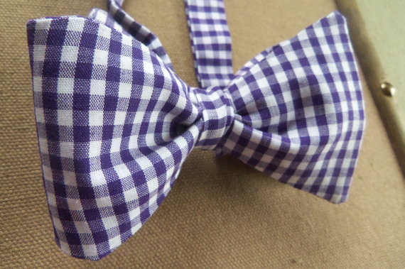purple and white gingham bow tie