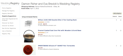 Sample Wedding Registry