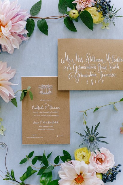 memphis wedding invitation floral by natalie chang - photo Annabella Charles