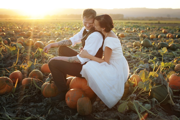 pumpkin patch wedding photos for fall wedding