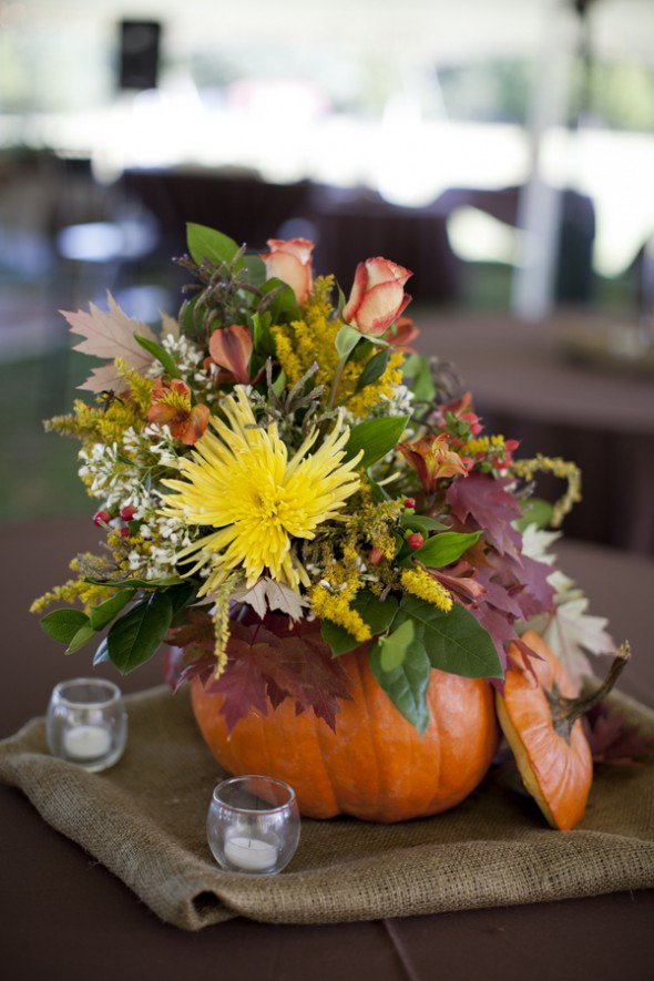 pumpkin tablescape fall wedding