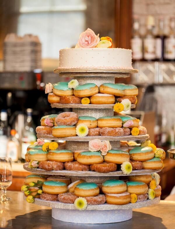 donut wedding cake morning brunch wedding inspiration mid south 3654
