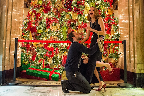 christmas peabody hotel proposal photo by amy dale photography