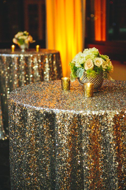 glittering gold tablecloths - gold wedding inspiration