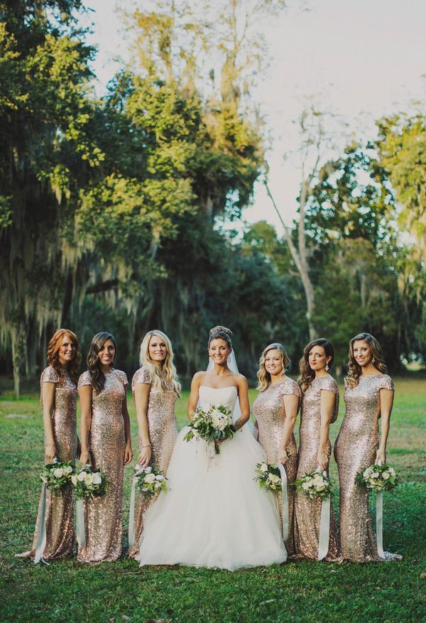 gold bridesmaid dresses - gold wedding inspiration