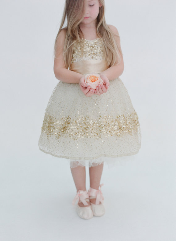 gold flower girl dress - gold wedding inspiration