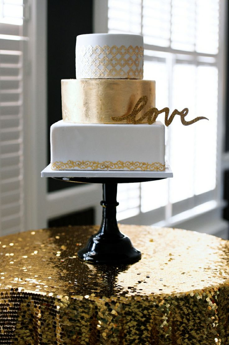 gold wedding cake - gold wedding ideas