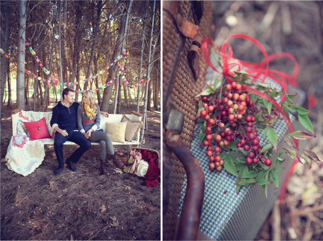 winter christmas engagement photo idea