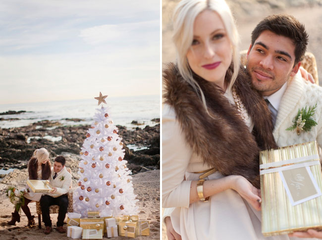 winter christmas engagement photo ideas