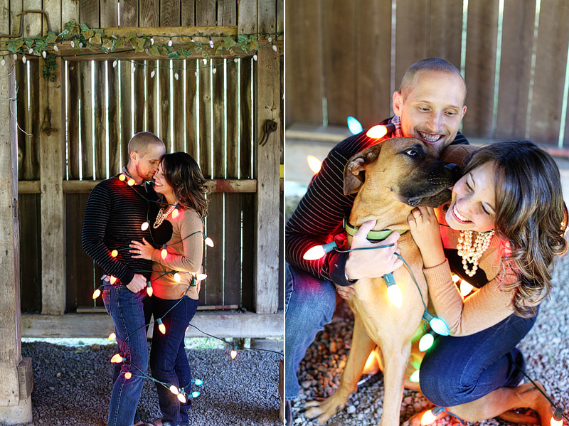 winter christmas lights engagement photo idea