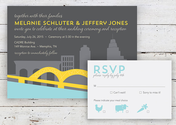 memphis skyline wedding invitation by twopoochpaperie