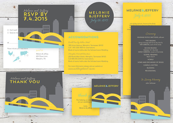 memphis wedding skyline design paper invitations by twopoochpaperie