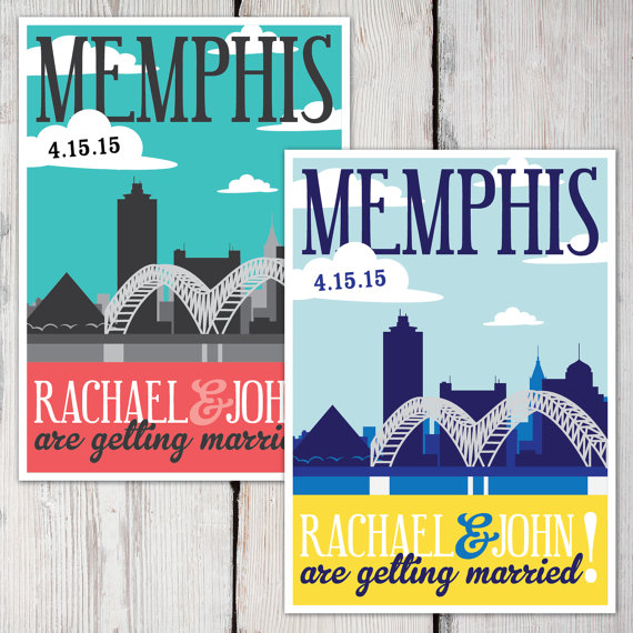printable memphis skyline save the date cards colors