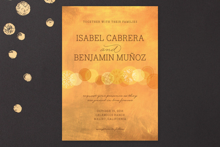 gold wedding invitation - heart of gold wedding invite from Minted
