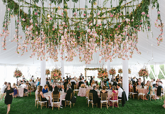 hanging flowers - hanging pink cherry blossoms - midsouthbride.com