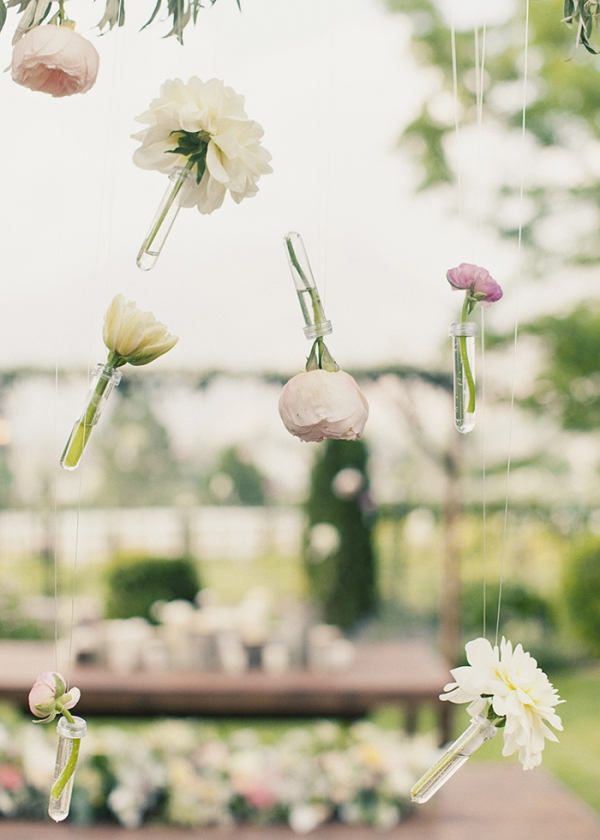 hanging flowers in test tubes - wedding flowers - midsouthbride.com