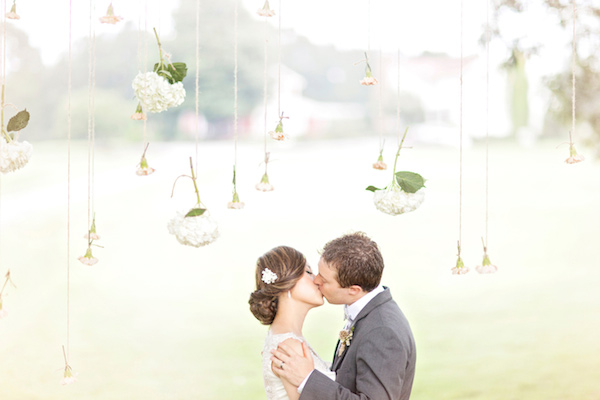hanging flowers wedding ceremony - midsouthbride.com
