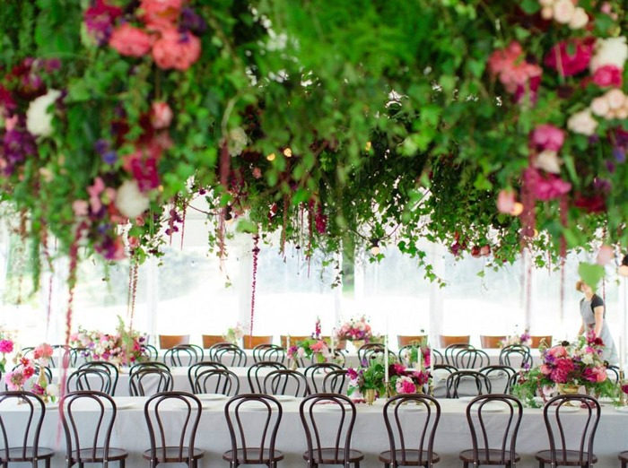 hanging flowers wedding reception decor - blush flowers - midsouthbride.com