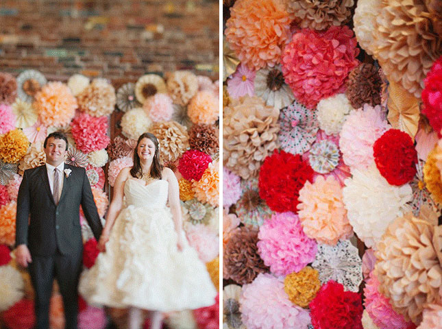 tissue paper wedding flowers backdrop - midsouthbride.com