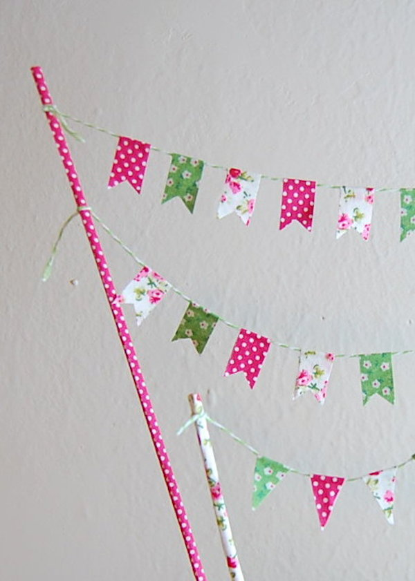 DIY fabric tape cake bunting - midsouthbride.com