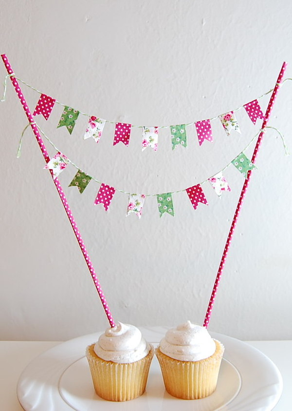 colorful DIY cake bunting - midsouthbride.com