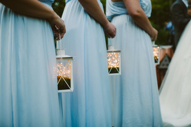 lit lanterns for bridesmaids - photo by Zac Wolf - midsouthbride.com