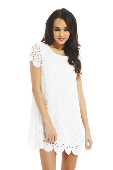 little white dress - AX Paris Women's Laser Cut Out Shift Dress