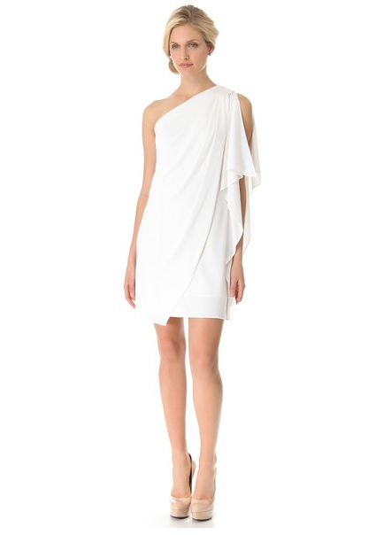 little white dress - Badgley Mischka Collection One Shoulder Mini Dress