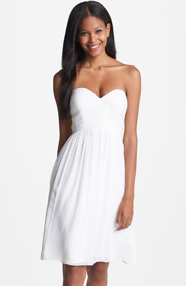 little white dress - Donna Morgan 'Morgan' Strapless Silk Chiffon Dress