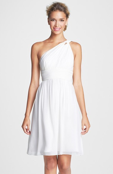 little white dress - Donna Morgan 'Rhea' One-Shoulder Chiffon Dress (Regular & Plus)