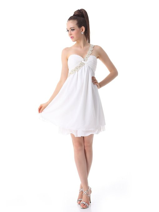 little white dress - Ever Pretty Macrame One Shoulder BNWT Rhinestones Ruffles Wedding Dress